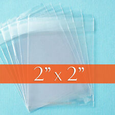 200 Clear Cello Bags, 2x2 inch;  OPP Poly, Resealable Self Adhesive Cellophane