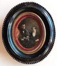 DAGUERREOTYPE 1/4 PHOTO COUPLE CADRE OVAL BOIS PHOTOGRAPHIE ANCIENNE O826