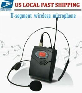 UHF Wireless Lavalier Microphone Headset Head Mic with Bodypack Transmitter UK