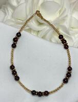 Genuine Garnet Gold Bali Bracelet or Ankle Bracelet (2757) + Plus Sizes