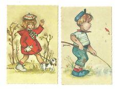 2 Unused Alma Postcards 552 553 Girl and Boy Artist Signed Bonnie
