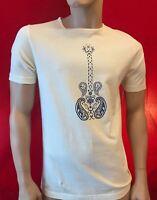 BNWT PRETTY GREEN Men's Paisley Guitar Print Stone T Shirt Size S