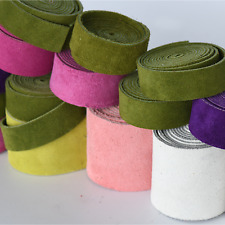 Scrap Suede Leather Strips Loden Pink White Tones Colors So Soft