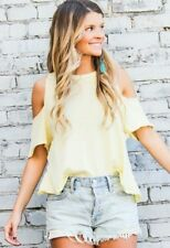 NWT Free People Taurus Cold Shoulder Tee Open Back Cross Back XS yellow