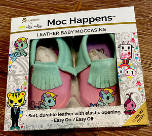 Itzy Ritzy Moc Happens Leather Baby Moccasins Tokidoki Sirena Mocs SZ S 0-6 mo
