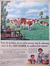 PUBLICITÉ DE PRESSE 1958 LAIT GLORIA LE MEILLEUR LAIT NATUREL  - ADVERTISING