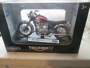 02 TRIUMPH BONNIVILLE T100  1-18 SCALE WELLY MOTORCYCLE MODEL