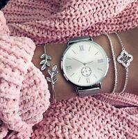 Damen 3er Armband Set Armbänder Schmuck Boho Silber Kette Strass Blüten Geschenk
