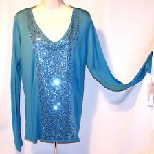 NEW $40 Tag APT 9. Storm Blue LARGE Knit Woven SEQUIN Front TEE Top Long Sleeve