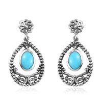 925 Sterling Silver Sleeping Beauty Turquoise Drop Dangle Earrings Gift Ct 1.4