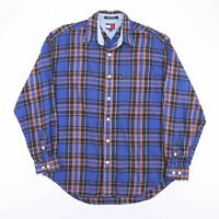 Vintage TOMMY HILFIGER Blue Casual Check Flannel Shirt Men's Size Medium