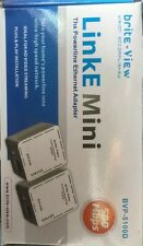 New >> Brite-view LinkE Mini Power line Ethernet Network Adapter Kit 500mbps LAN
