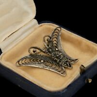 Antique Vintage Deco Sterling Silver BEAU Figural Butterfly Filigree Pin Brooch