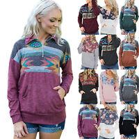 Women Boho Long Sleeve Tops Pullover Zip Up V Neck Blouse Ladies Hoodies Jumper