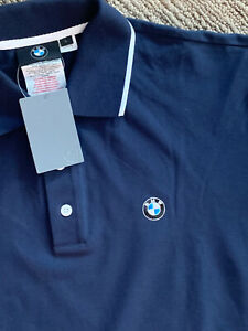 NWT Genuine BMW Polo Shirt Short Sleeve NAVY Blue stretch EMBROIDERED Large L