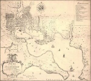 A4 Reprint of Map 1792 French Geographers Plan Baltimore & Its Environs
