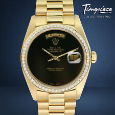 Rolex Day-Date Mens Watch 18K Yellow Gold Black Onyx Dial Diamond Bezel 36mm