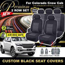Premium BLACK HOLDEN COLORADO RG Crew Cab Seat Covers 2ROWs LTZ LZ 7/2016-2020