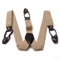 New Men Fashion Suspenders 6 Clips Braces Unisex Clothes Accessories Solid Color