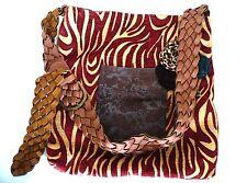 Annie Mae Designs Unique Vintage Fabric Handbag Purse w Adjustable Leather Strap