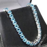 Sparkling Blue Aquamarine Tennis Bracelet Women Jewelry Wedding 18K Gold Plated