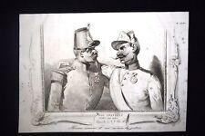 Incisione d'allegoria e satira Francia, Croazia, Pio IX Don Pirlone 1851