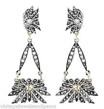 TOPAZ CITRINE WHITE FLORAL DESIGNER Crystal Rhinestone Chandelier Drop Earrings