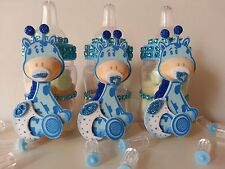 12 Blue Giraffe Fillable Bottles Baby Shower Its a Boy Favors Game Safari Jungle