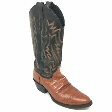 Men's Justin Western Boots Cowboy Shoes Size 7M Brown Black Genuine Lizard A4