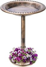 "Vivohome 28"" Lightweight Outdoor Garden Birdbath Antique w/ Flower Planter Base"