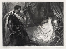 "WOW 1800s HEINRICH HOFMANN Engraving ""Othello with Desdemona"" Framed SIGNED COA"