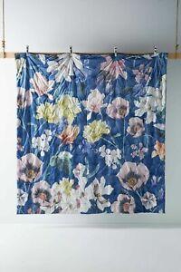 Anthropologie Velvet Ella Floral Blossom Velvet Quilt Navy Size FULL