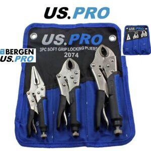 "US PRO Tools 3pc Soft Grip Locking Plier Set 6.5, 7, 10"" Mole Vise Grips 2074"