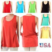 Women's 100% Cotton Loose Fit Tank Top Relaxed  Basic Plain Gym Sleeveless Tee