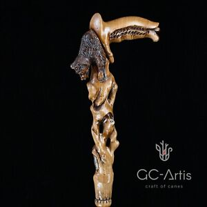 Bear walking stick wooden cane for man men Hand carved wood crafted GC-Artis