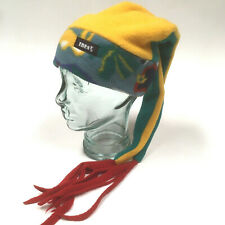 Ibex Fleece Harlequin Jester Winter Hat Green Yellow Red Blue Colorful Vintage?