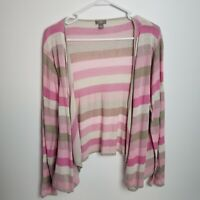 J Jill Womens Cardigan Sweater Size L Petite Striped Pink Open Front Linen Blend