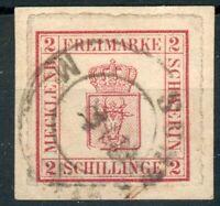 Mecklenburg-Schwerin,Kl. Briefstück Mi.-Nr.6a mit PLF III, geprüft Diena