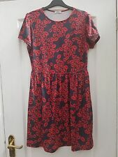 F&F LIMITED EDITION RED CHARCOAL GREY LIPSTICK PRINT FLOATY SHIFT SKATER DRESS 8