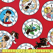 Windham Fabric Playdate Clock Face Red PER METRE Retro Vintage Childrens Story T
