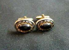 Shields Ultra Retro Gold Tone Oval Cufflinks Black Onyx Stone Vintage