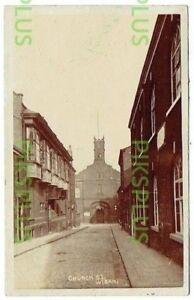 OLD POSTCARD CHURCH STREET WIGAN LANCS MILLARD REAL PHOTO VINTAGE 1905-10
