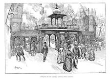 LONDON Central Ave, India Section at the Colonial Exhibition -Antique Print 1886