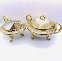 Antique Art Nouveau Nippon Gold Bead Moriage 3 Footed Handled Creamer~Sugar Set