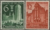 Stamp Germany Mi 714-5 Sc 492-3 1939 WWII Danzig Crane Gate Church Poland MH