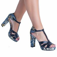 WOMENS ANKLE STRAP LADIES PLATFORM  SNAKE PRINTED CHUNKY HIGH HEEL SANDALS SHOES