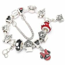 Crystal Mickey Beads Silver Plated Dangles Charm Bracelet Minnie Disney