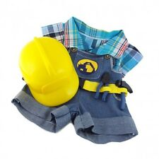 "Builder Construction Worker Outfit Hat teddy bear clothes fits 15"" Build a Bear"