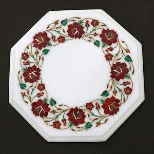 "12"" Marble corner Table Handmade Semi Precious Stones Pietra dura"