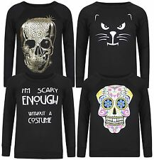 New Ladies I M Scary Enough Slogan Halloween Jumpers Tops 8-22